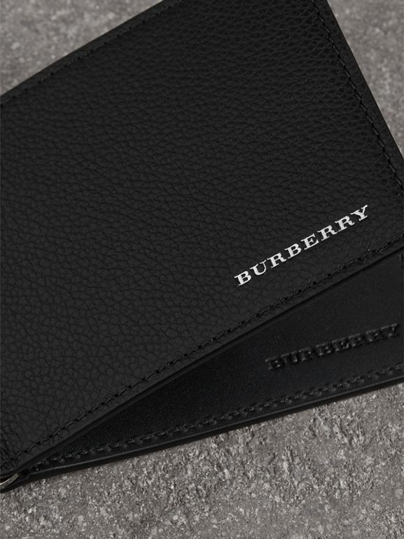 Grainy Leather Money Clip Card Wallet in Black - Men | Burberry Australia - cell image 1
