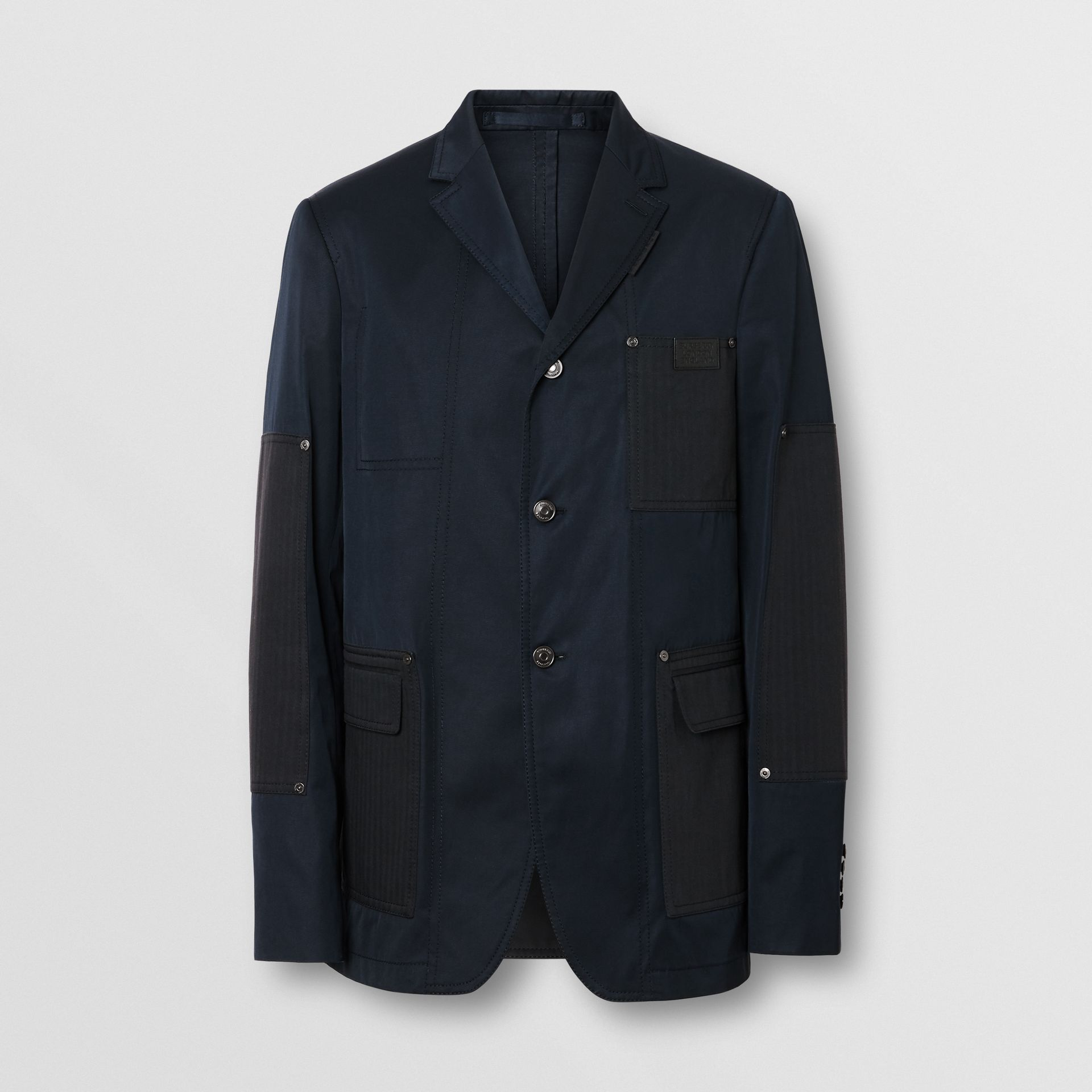 Herringbone Patch Detail Cotton Twill Blend Jacket in Navy - Men | Burberry - gallery image 3