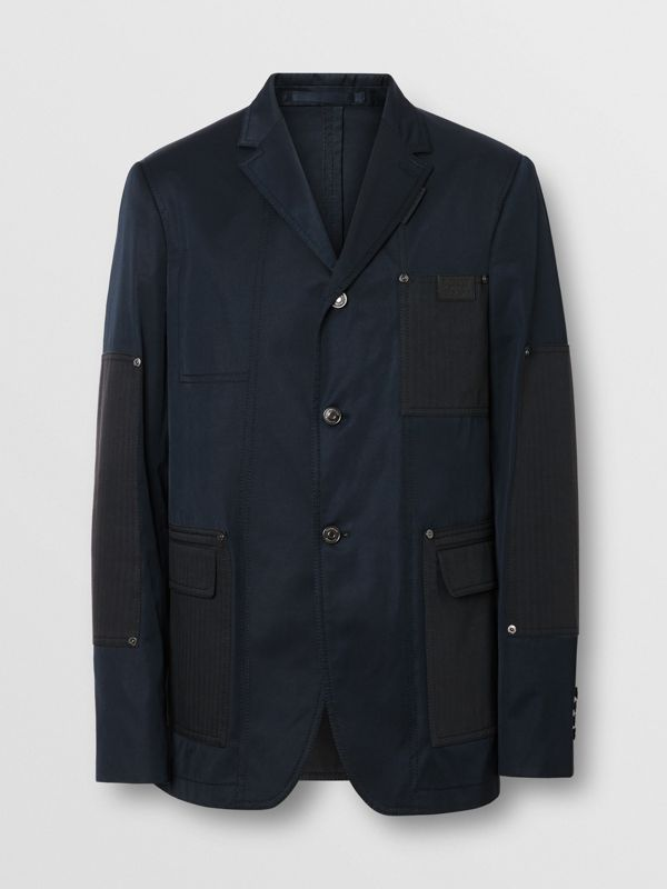 Herringbone Patch Detail Cotton Twill Blend Jacket in Navy - Men | Burberry - cell image 3