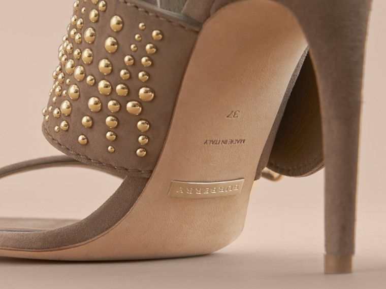 Riveted Suede Sandals with Buckle Detail in Dark Heather Melange - Women | Burberry - cell image 4