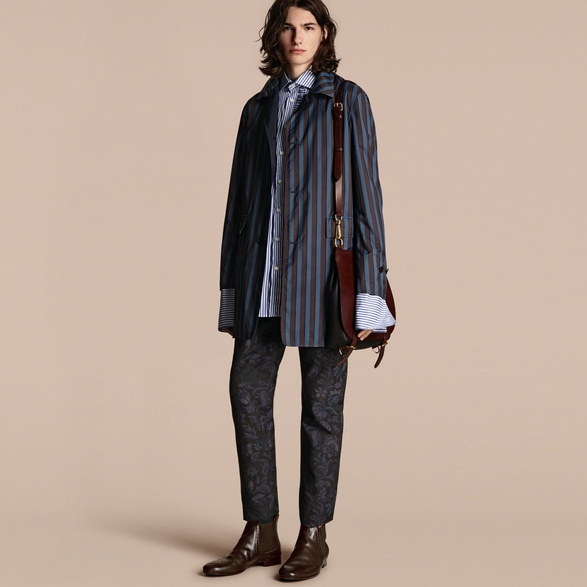 Navy Reversible Pyjama Stripe Print Car Coat - gallery image 1