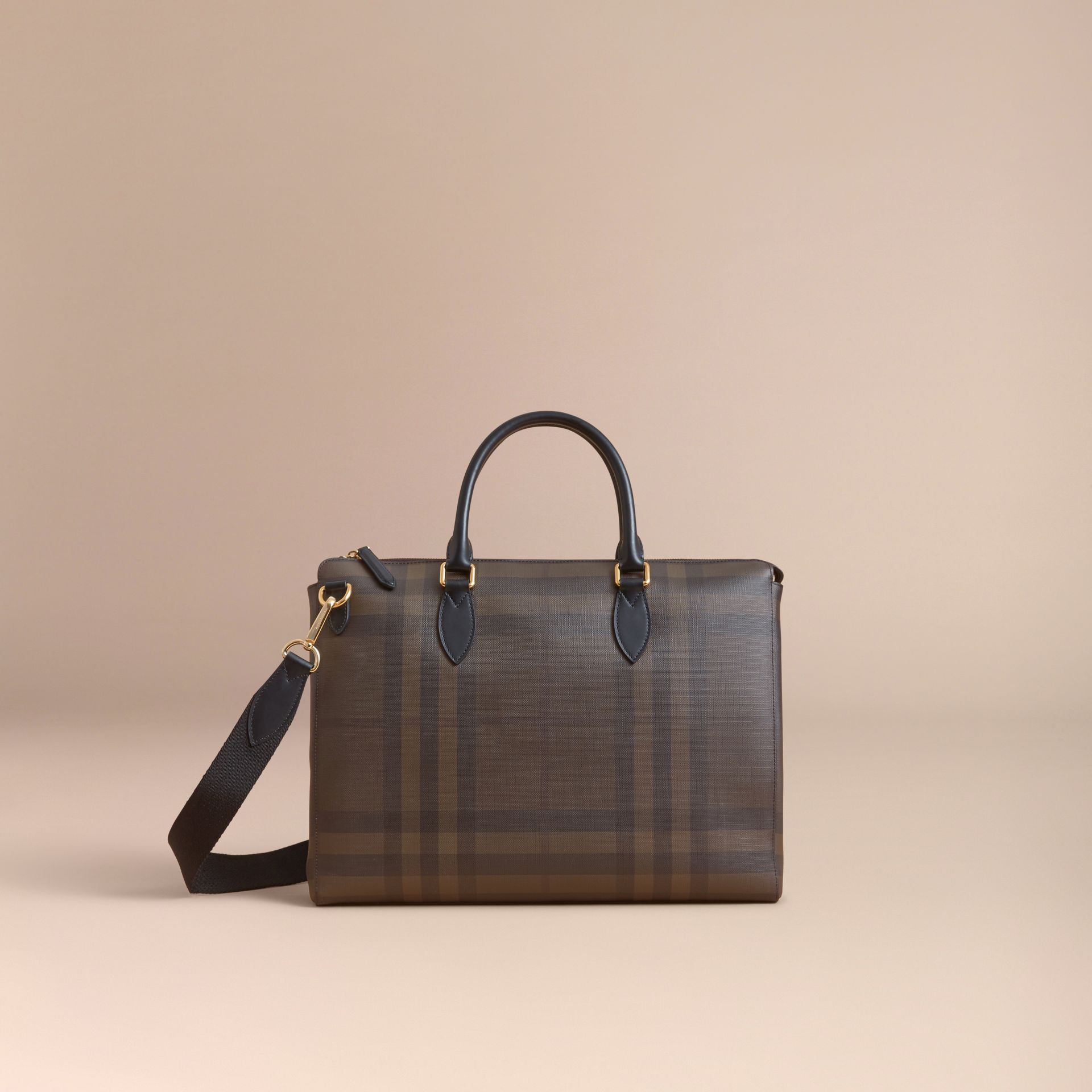 Large London Check Briefcase in Chocolate/black - Men | Burberry - gallery image 8