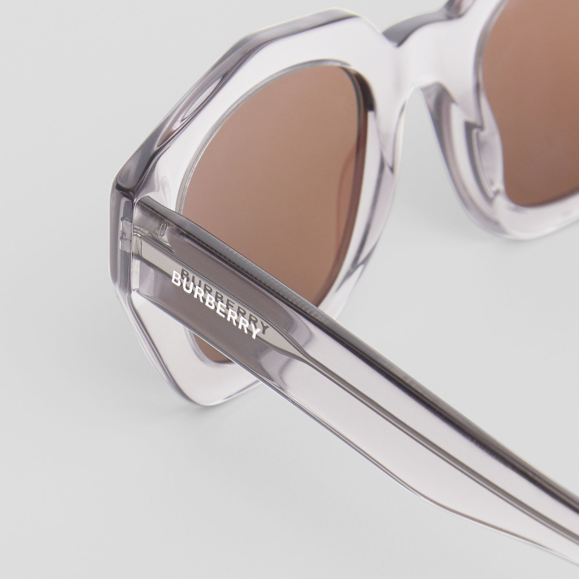 Geometric Frame Sunglasses in Grey - Women | Burberry United Kingdom - gallery image 1