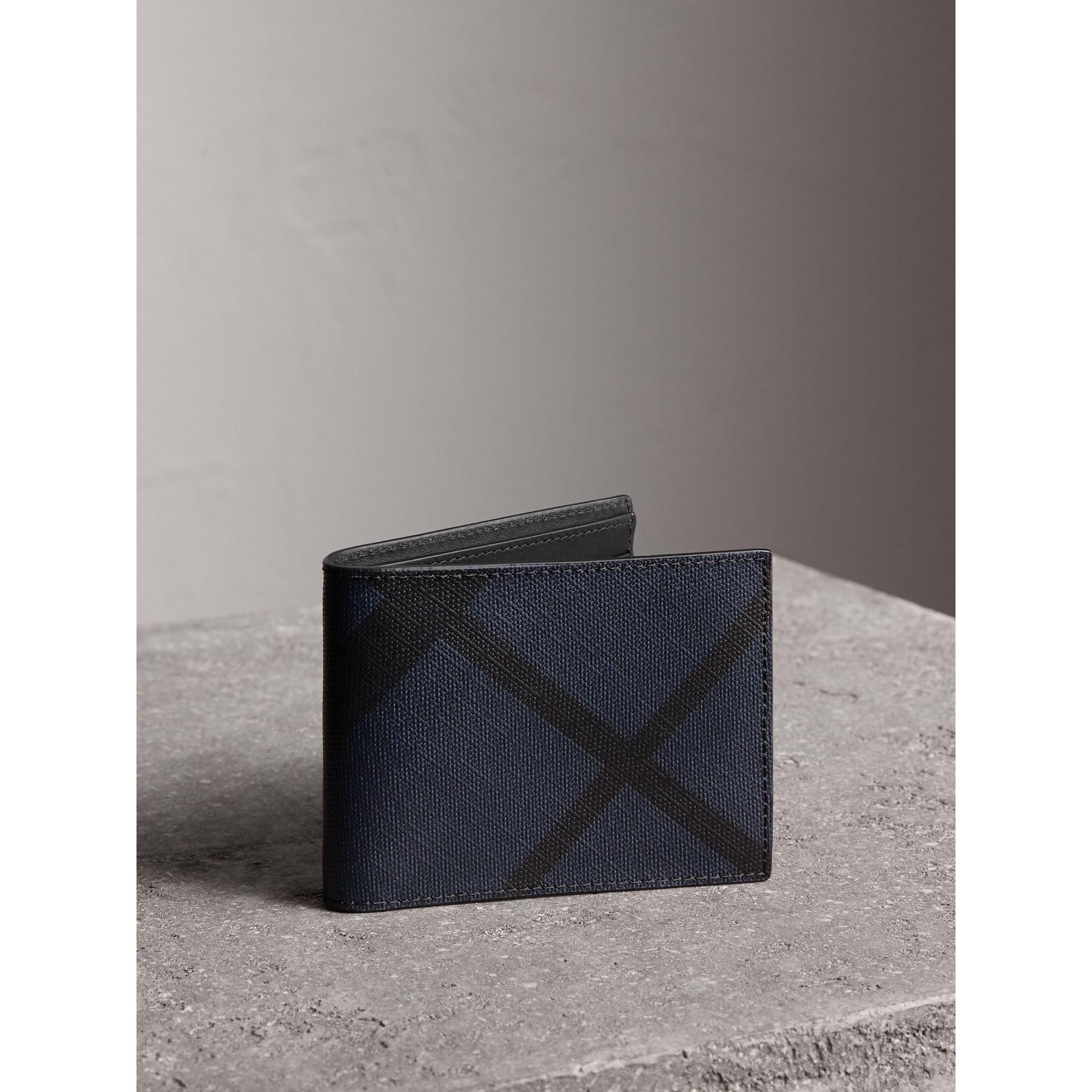 London Check and Leather Bifold Wallet in Navy/black - Men | Burberry Singapore - gallery image 1