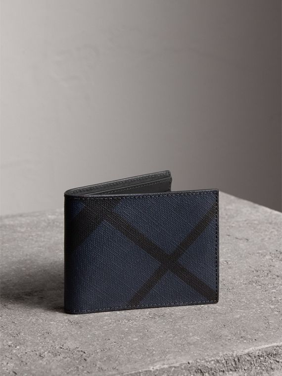 London Check and Leather Bifold Wallet in Navy/black