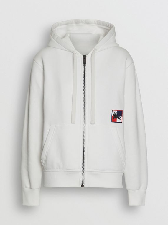 Chequer EKD Cotton Jersey Hooded Top in White