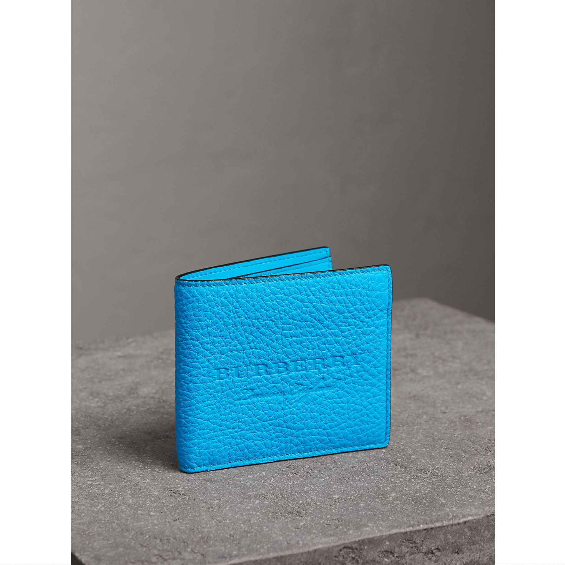 Embossed Leather International Bifold Wallet in Neon Blue - Men | Burberry United Kingdom - gallery image 0
