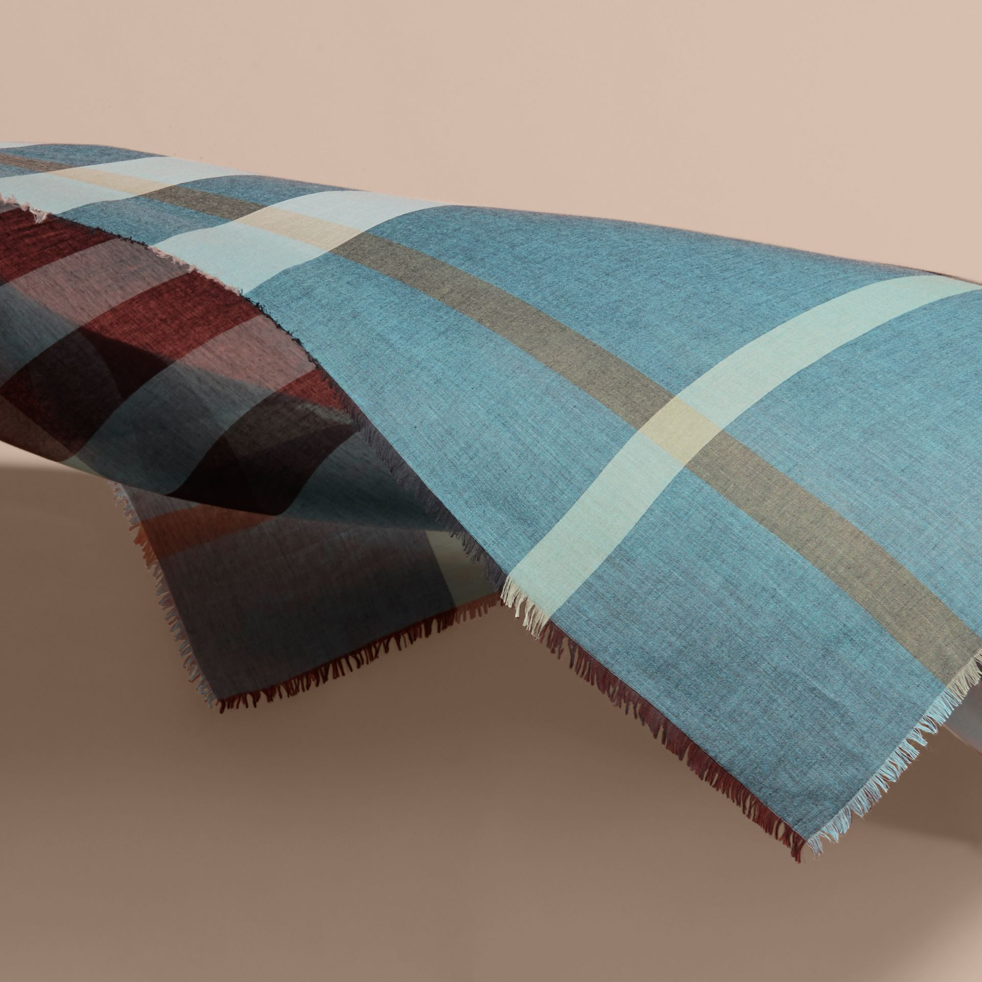 Check Modal and Wool Square Scarf Slate Blue - gallery image 4
