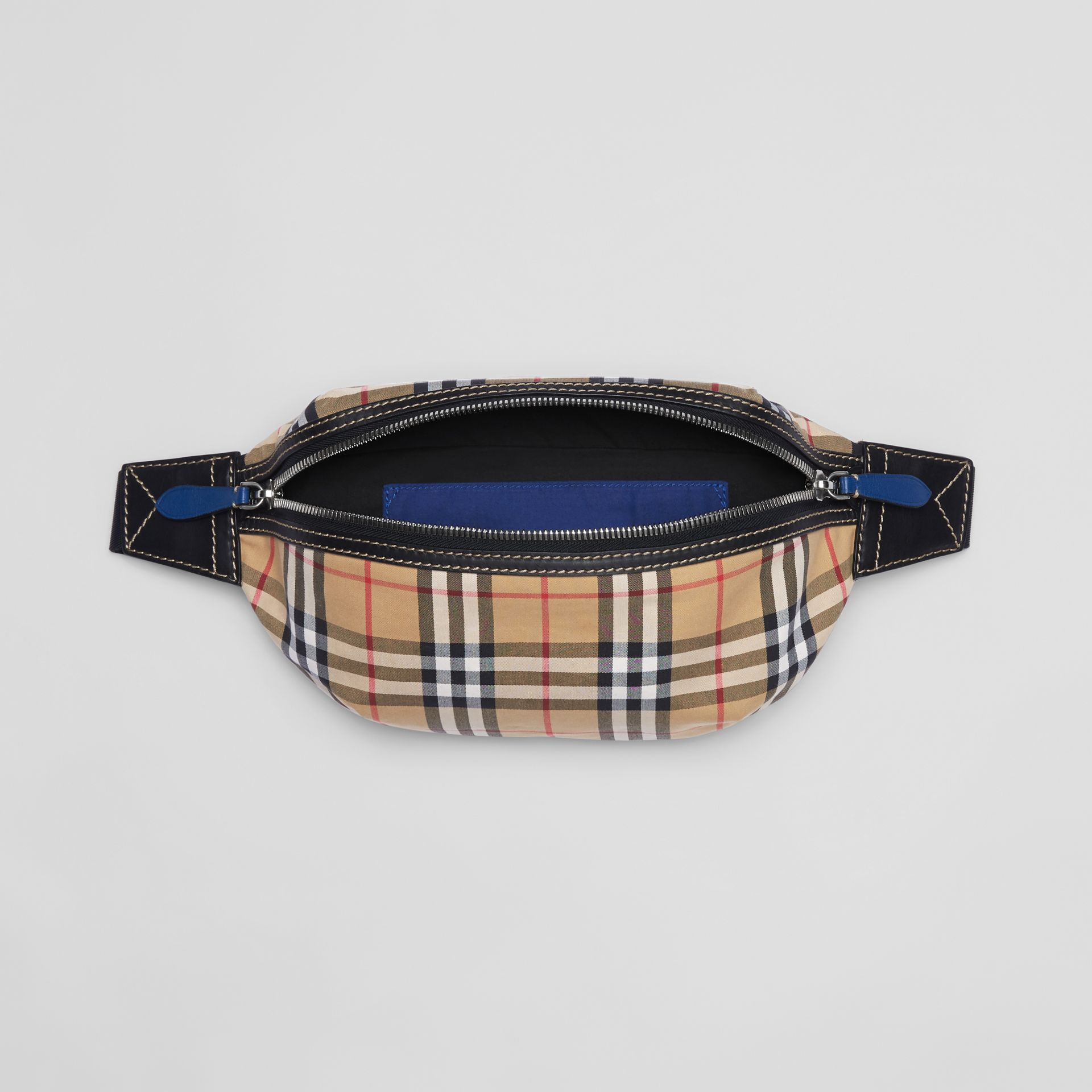 Medium Vintage Check Bum Bag in Canvas Blue - Men | Burberry Australia - gallery image 5