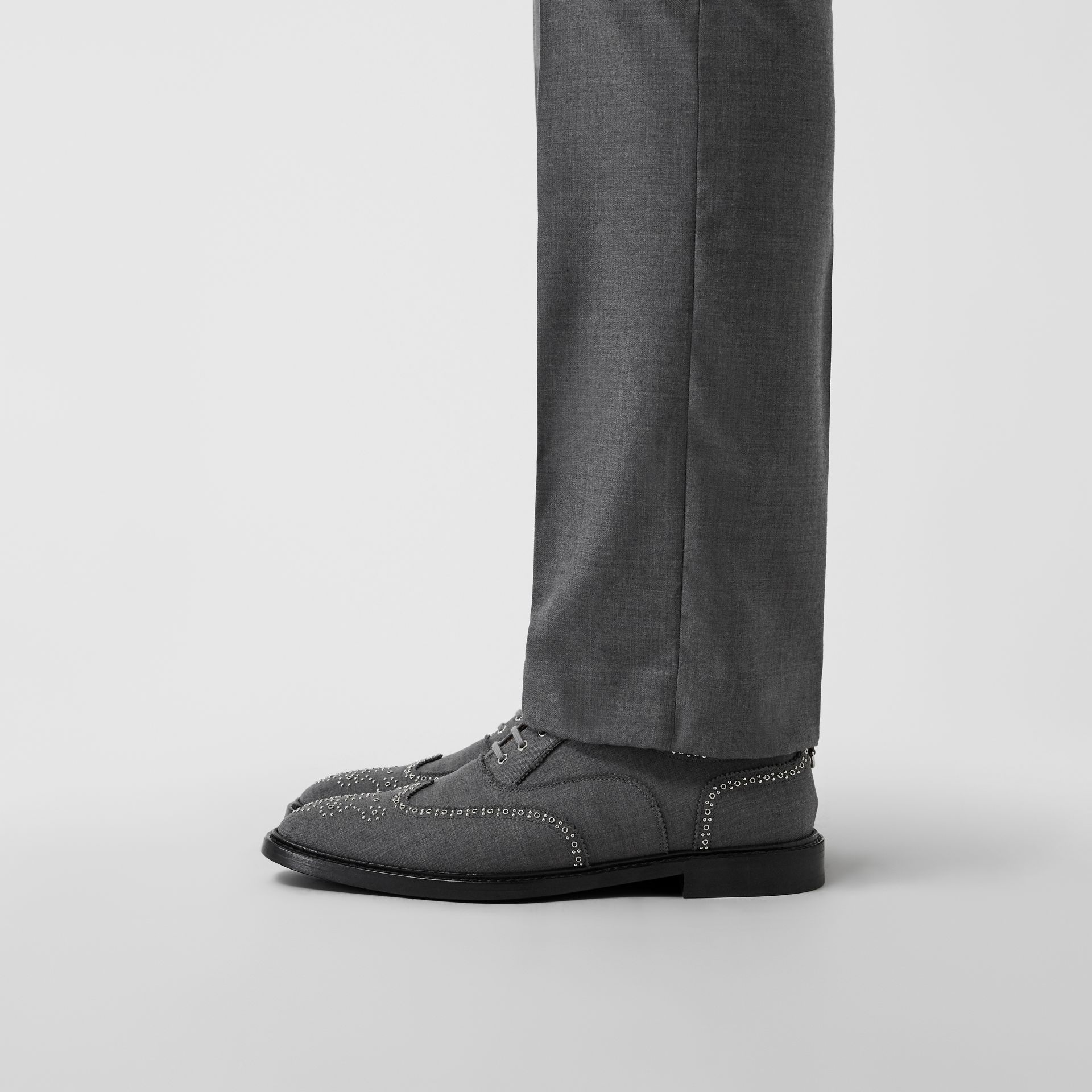 Embroidered Wool Brogues in Light Grey | Burberry United Kingdom - gallery image 2