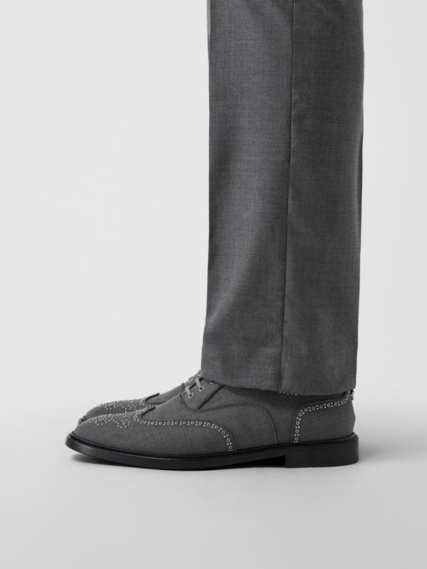 Embroidered Wool Brogues in Light Grey | Burberry United Kingdom - cell image 2