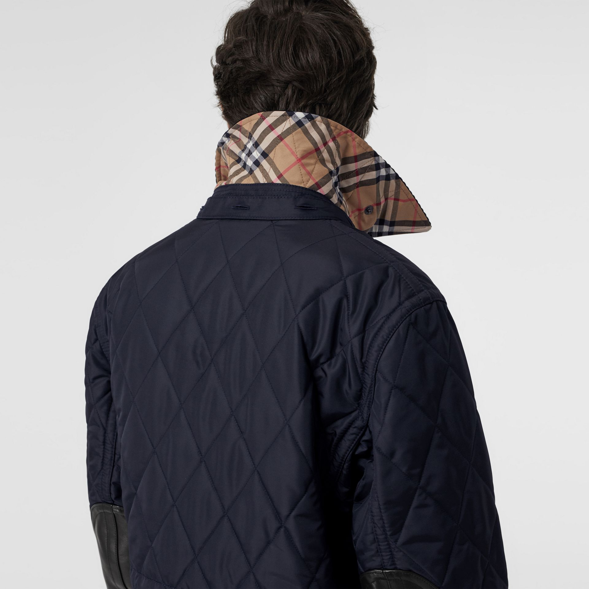 Detachable Hood Diamond Quilted Barn Jacket in Navy - Men | Burberry - gallery image 1