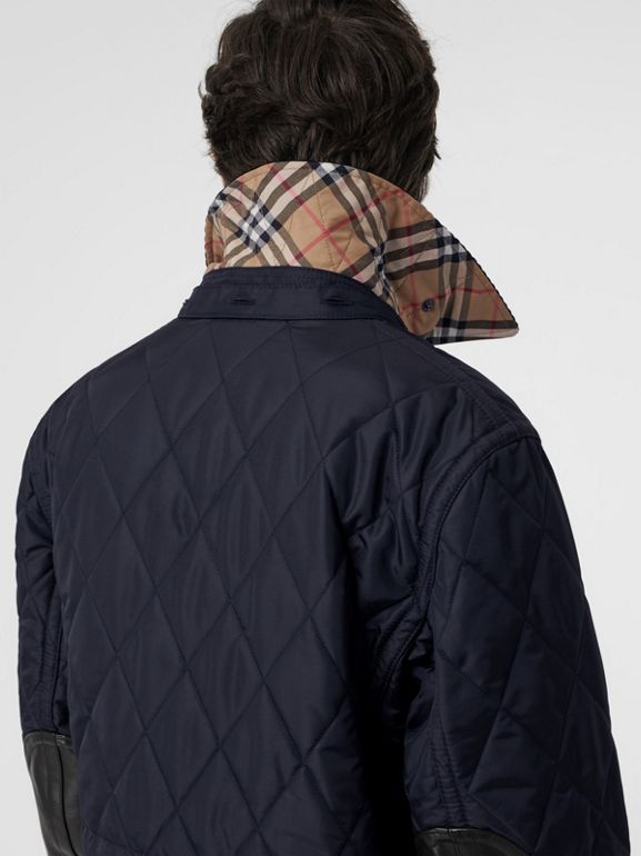 Detachable Hood Diamond Quilted Barn Jacket in Navy - Men | Burberry - cell image 1