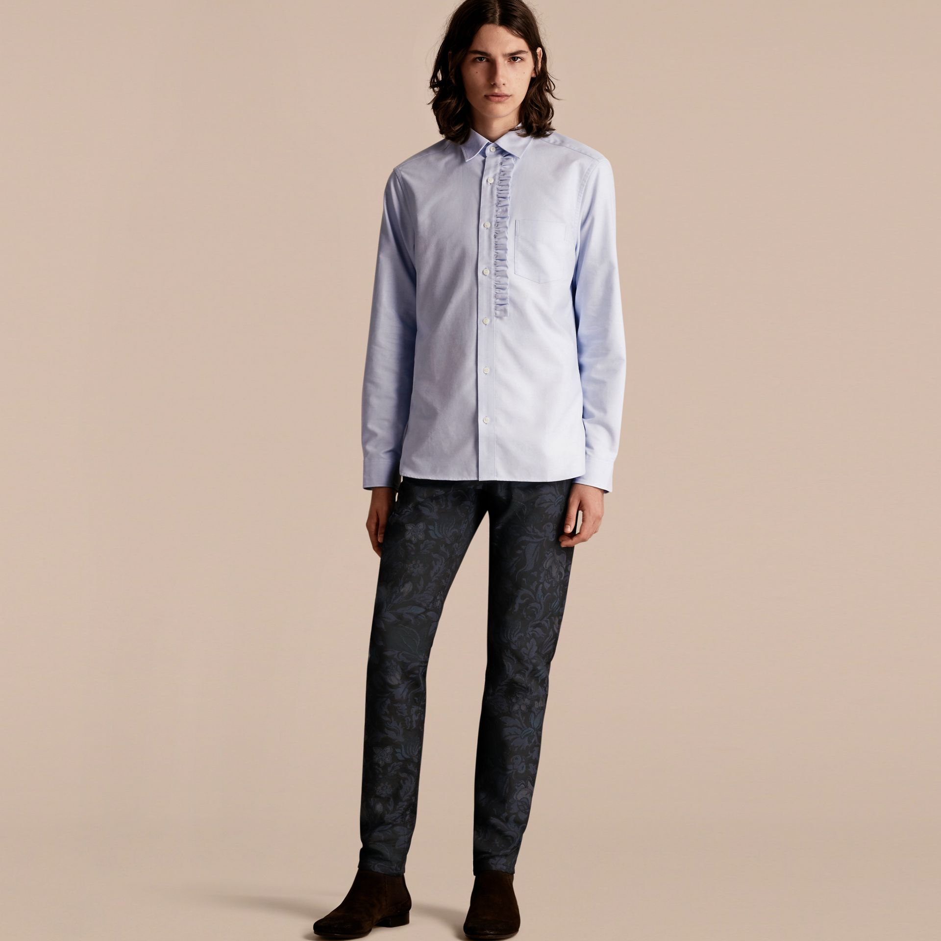 Cornflower blue Ruffle Detail Cotton Oxford Shirt - gallery image 6