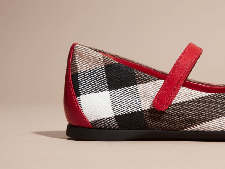 Leather and House Check Ballerinas in Parade Red | Burberry - cell image 1