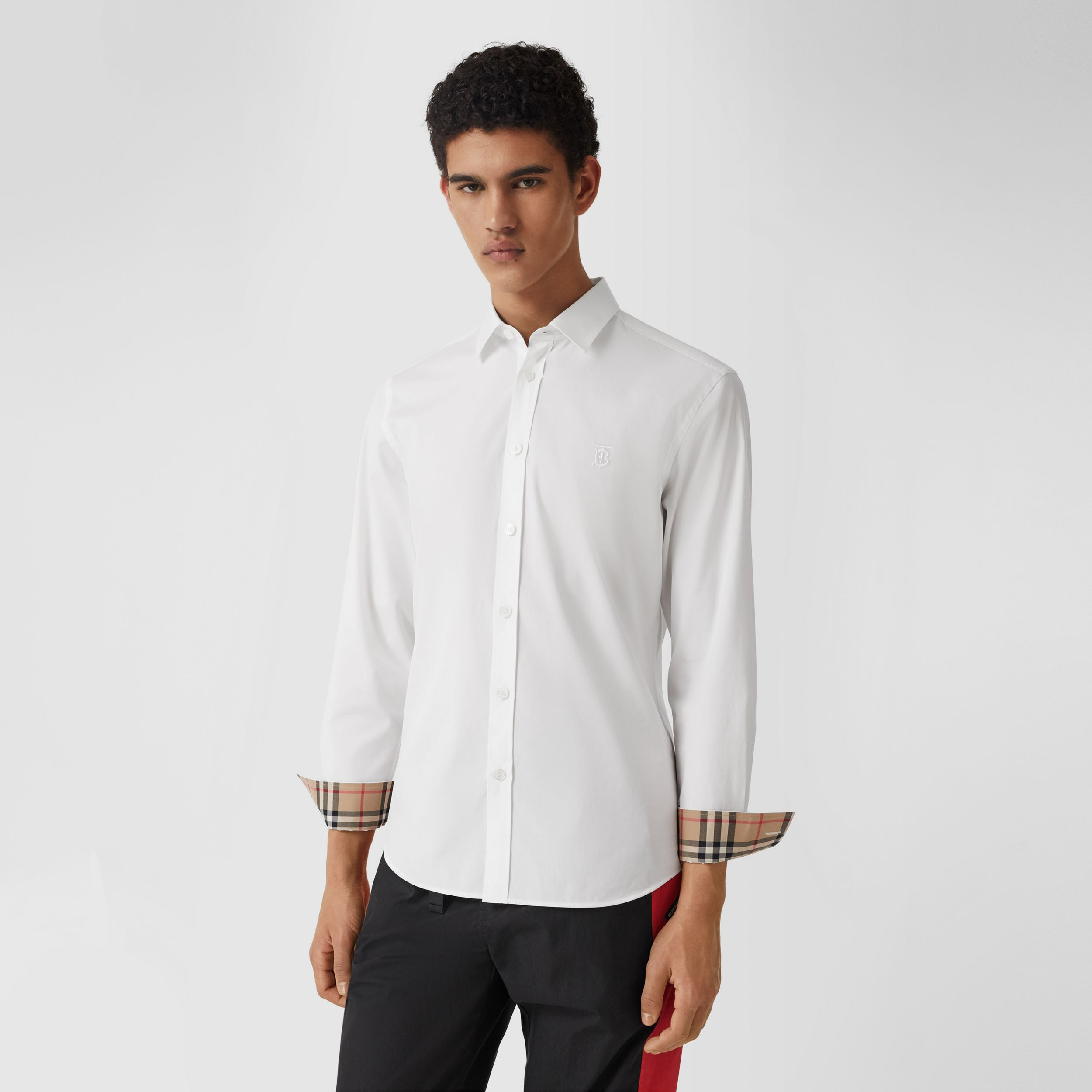Slim Fit Monogram Motif Stretch Cotton Poplin Shirt in White - Men | Burberry - 1