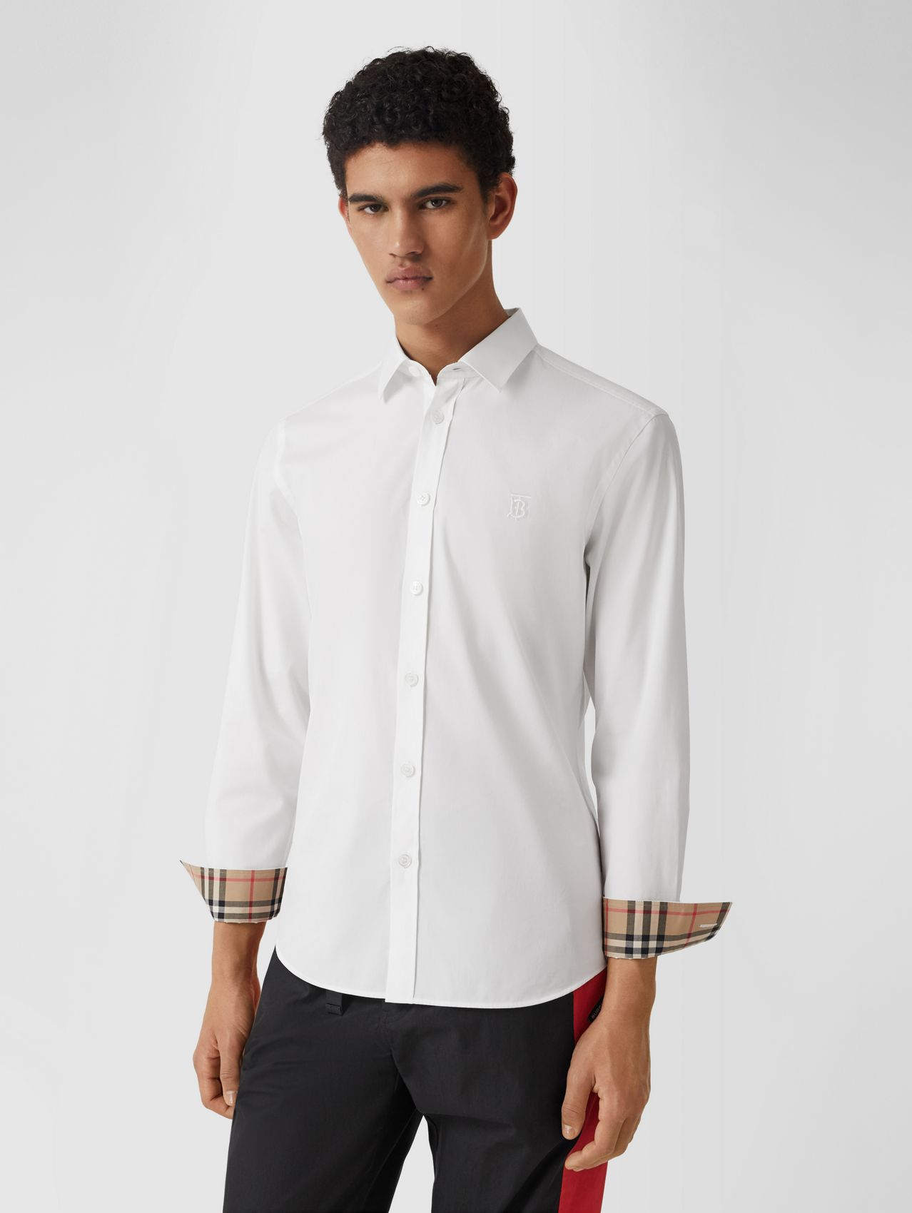 Chemise slim en popeline de coton stretch Monogram in Blanc
