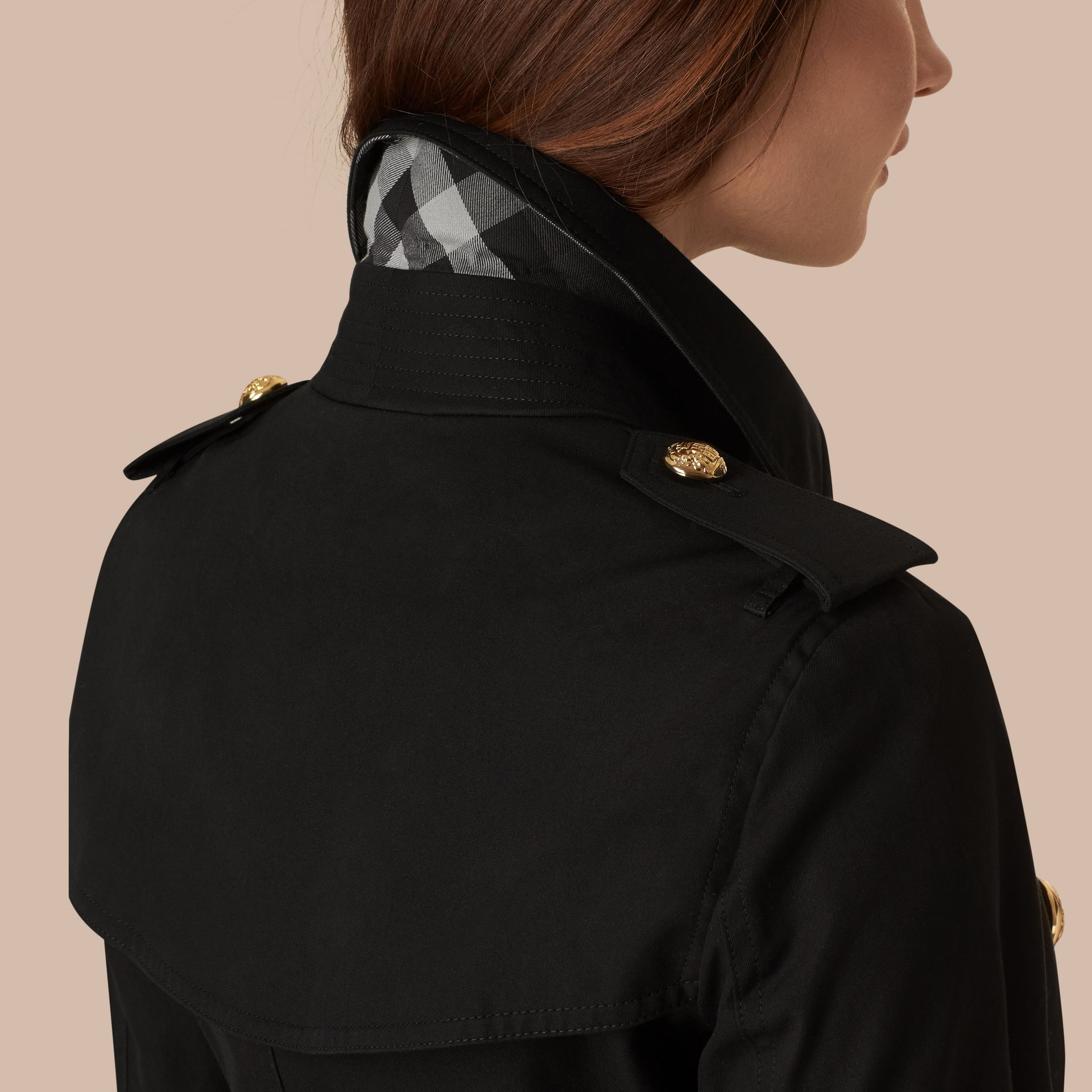 Black Military Button Cotton Gabardine Trench Coat - gallery image 6