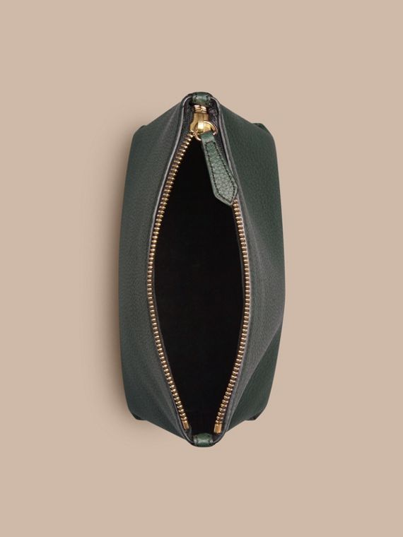 Dark forest green Grainy Leather Zipped  Pouch Dark Forest Green - cell image 3