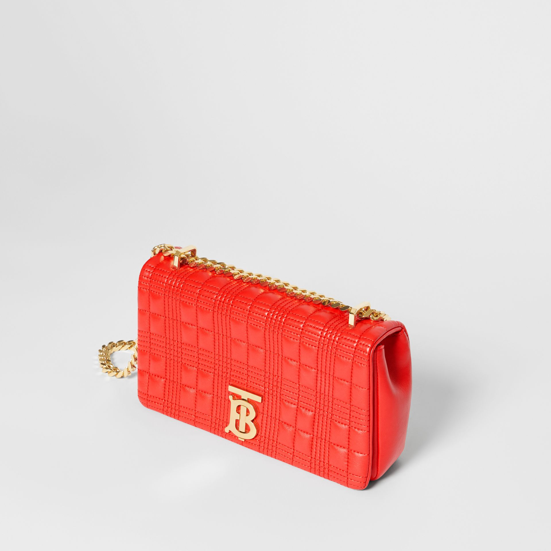 Small Quilted Check Lambskin Lola Bag in Bright Red - Women | Burberry - gallery image 3