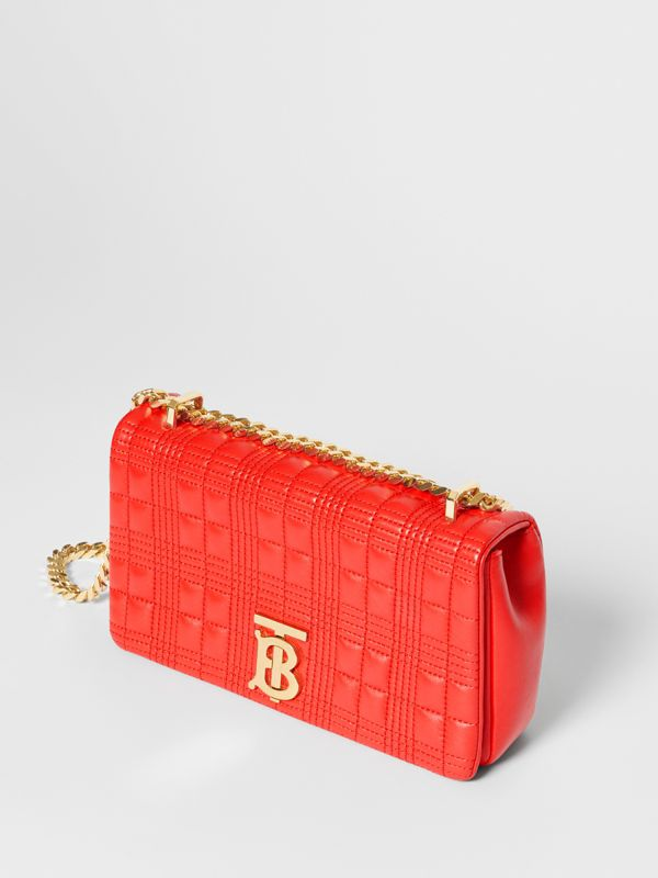 Small Quilted Check Lambskin Lola Bag in Bright Red - Women | Burberry - cell image 3