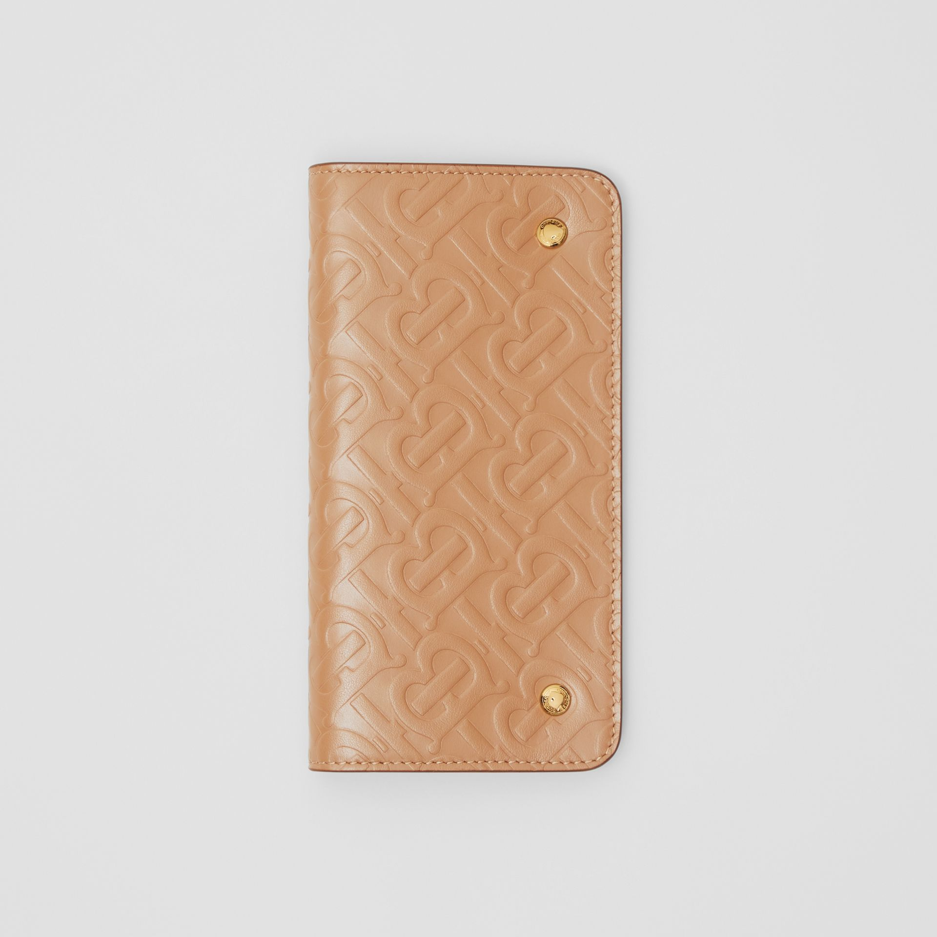 Monogram Leather Phone Wallet in Light Camel - Women | Burberry - gallery image 2