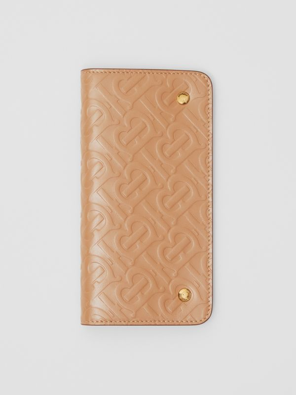 Monogram Leather Phone Wallet in Light Camel | Burberry Australia - cell image 2