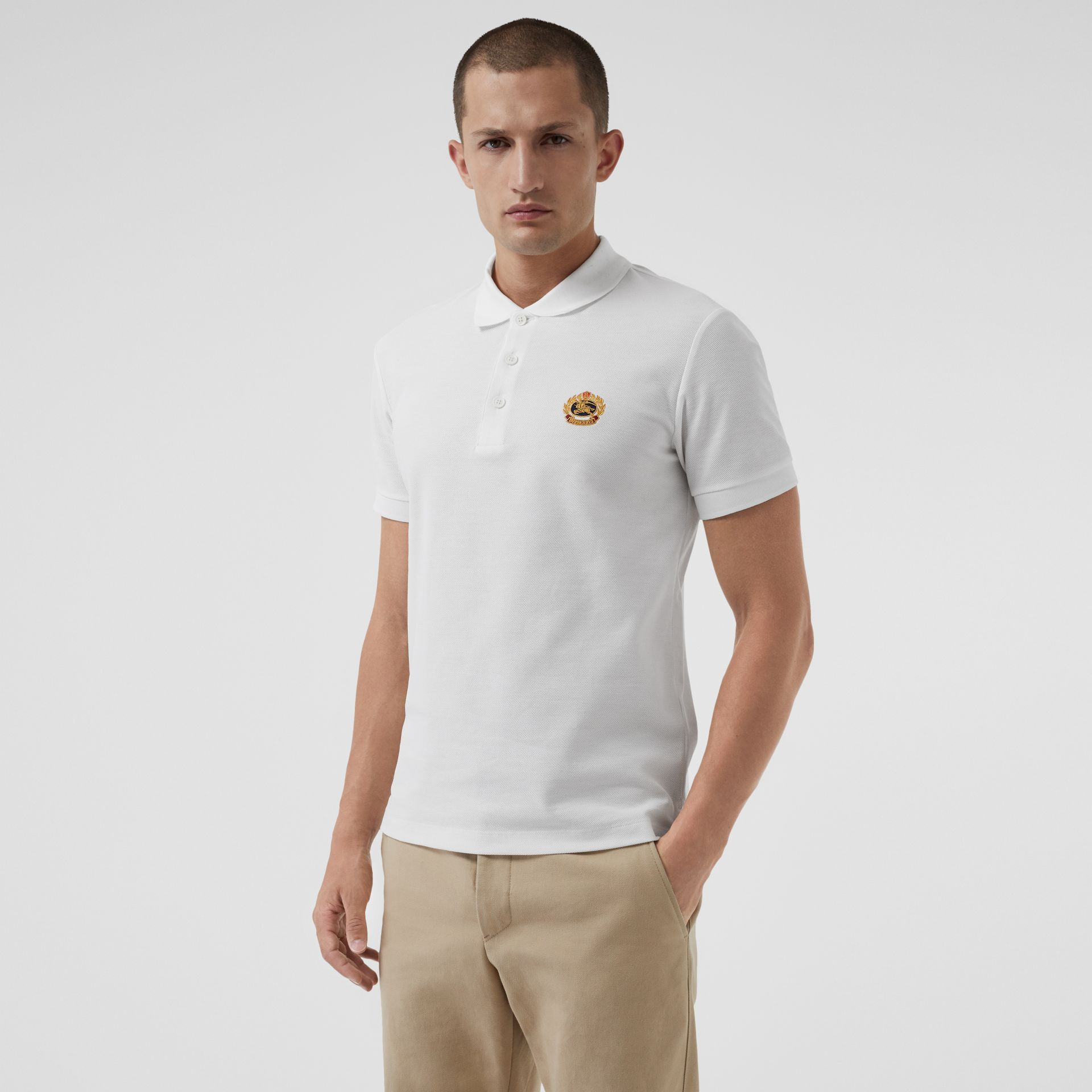 Archive Logo Cotton Piqué Polo Shirt in White - Men | Burberry - gallery image 0