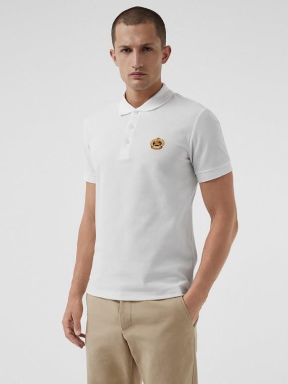 Polo en piqué de algodón con logotipo vintage (Blanco)
