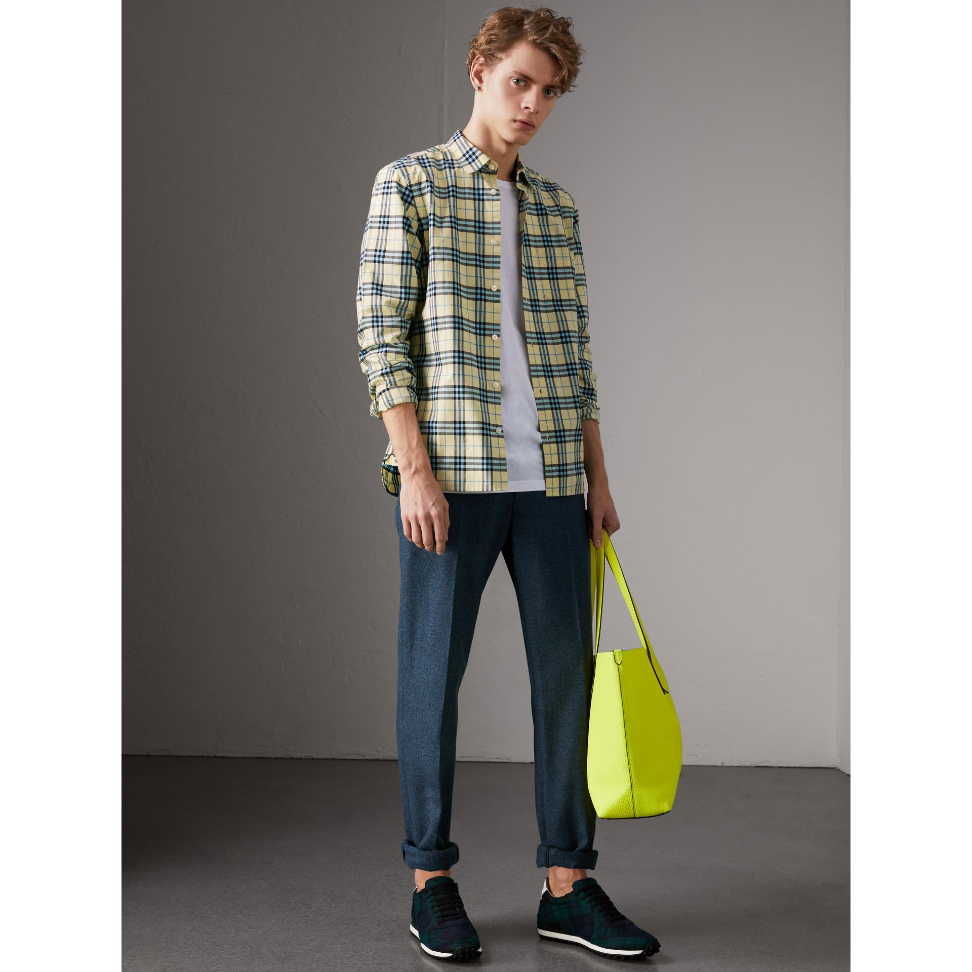 Check Cotton Shirt in Chalk Yellow - Men | Burberry United Kingdom - gallery image 4