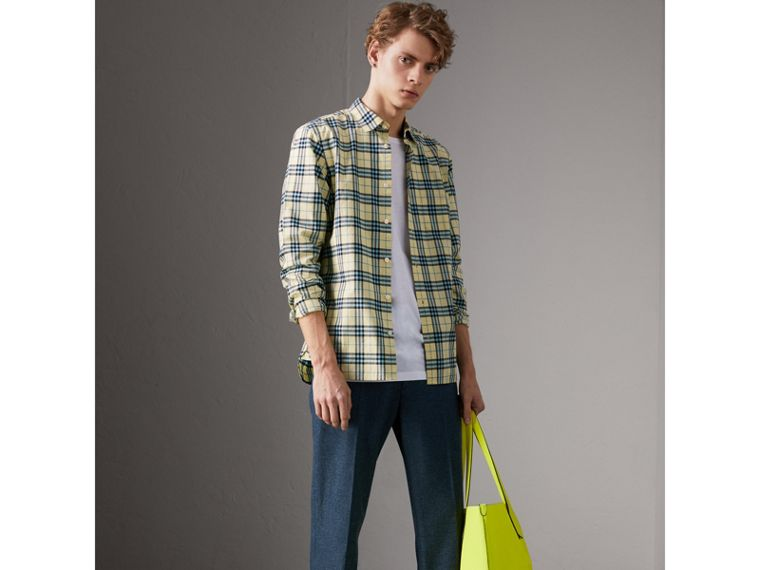 Check Cotton Shirt in Chalk Yellow - Men | Burberry - cell image 4