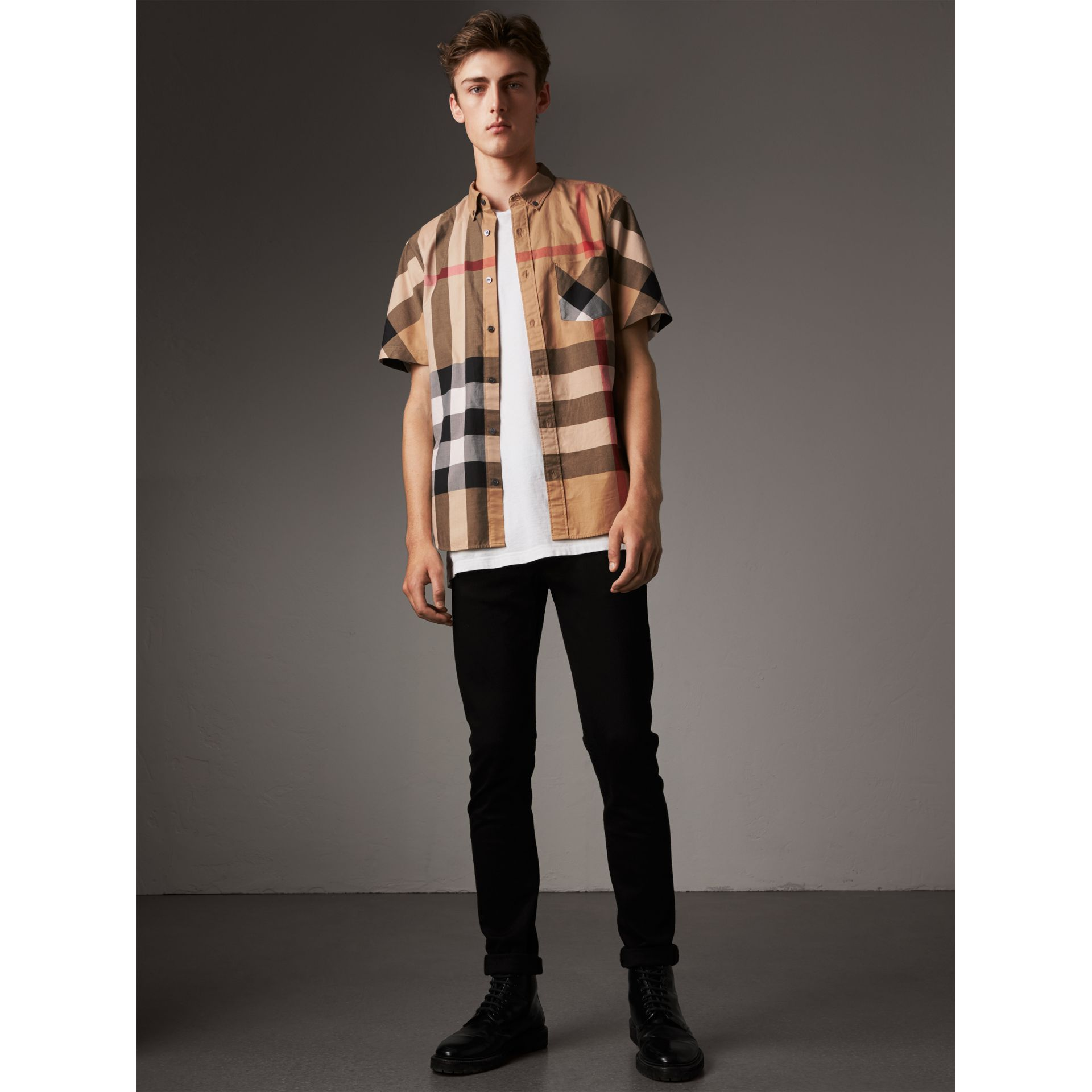 Short-sleeve Check Stretch Cotton Blend Shirt in Camel - Men | Burberry Singapore - gallery image 0