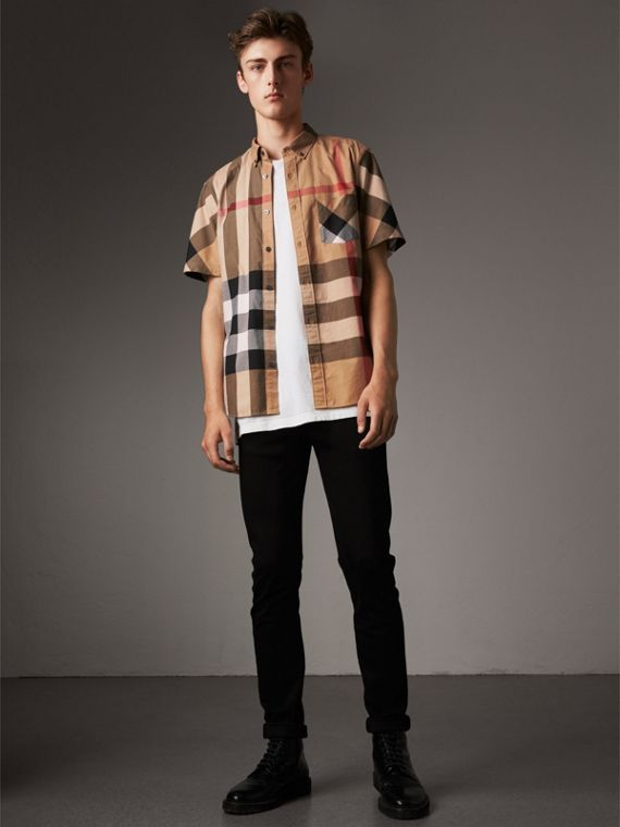 Camisa de manga corta a cuadros en mezcla de algodón elástico (Cámel)