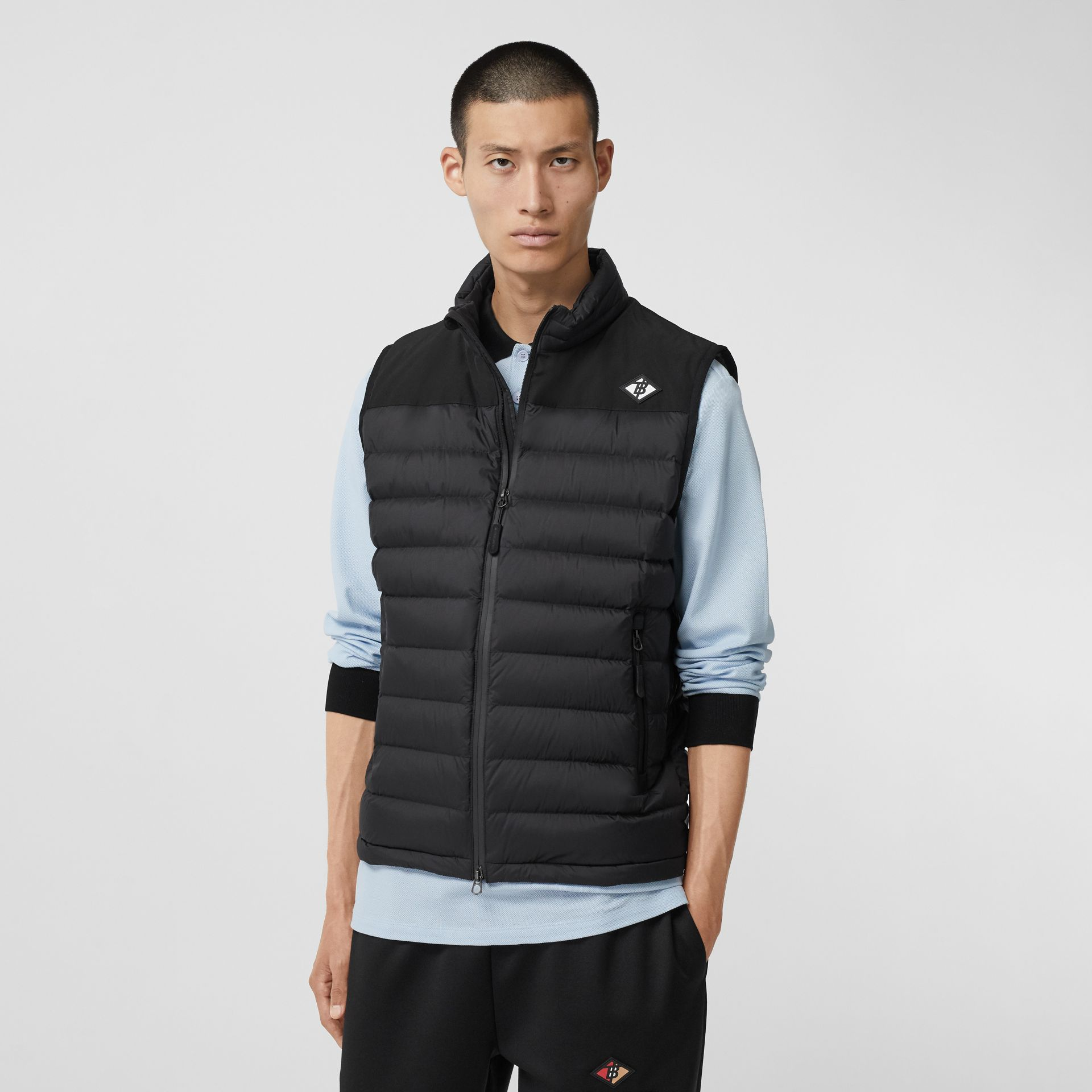 Logo Graphic Puffer Gilet in Black - Men | Burberry - gallery image 4