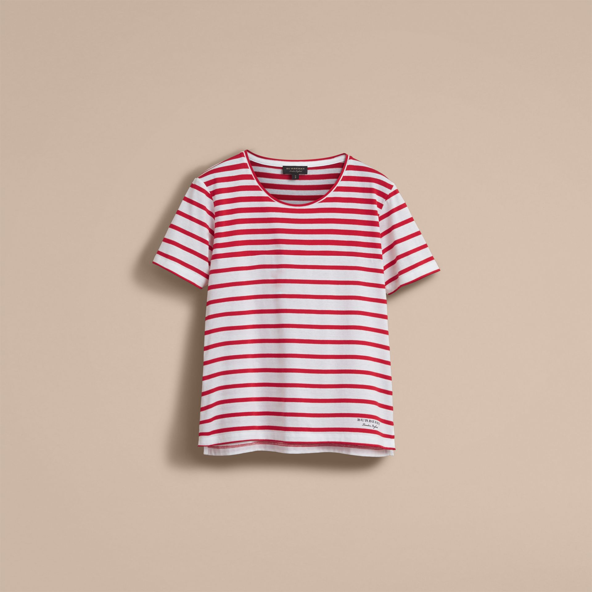 Breton Stripe Cotton T-shirt in Military Red/white - Women | Burberry - gallery image 3