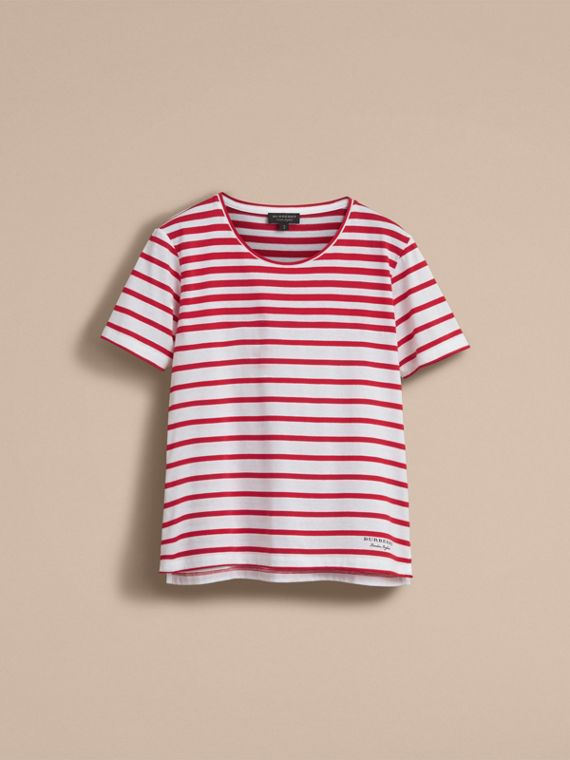 Breton Stripe Cotton T-shirt in Military Red/white - Women | Burberry Canada - cell image 3