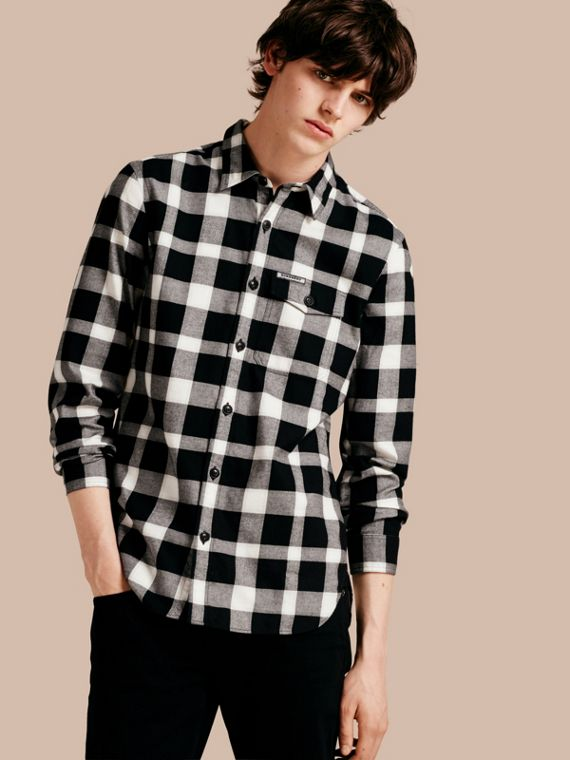 Buffalo Check Cotton Flannel Shirt Natural White
