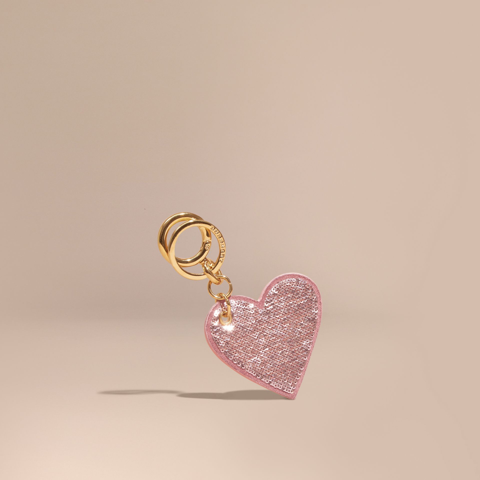 Pink / pink Sequinned Heart Suede Key Charm - gallery image 1