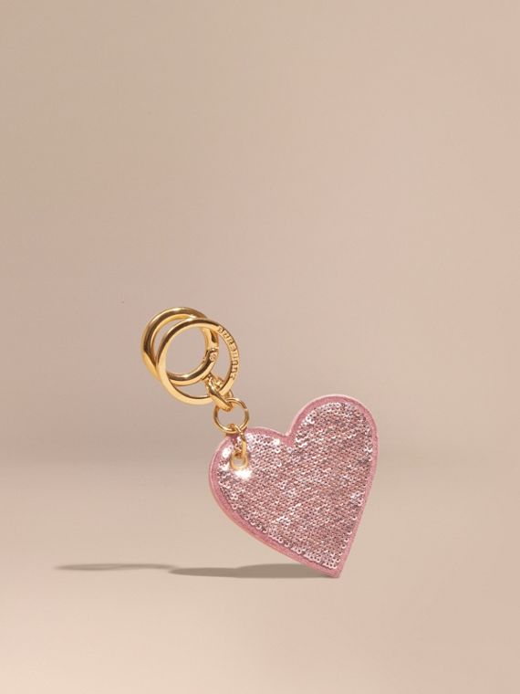 Sequinned Heart Suede Key Charm