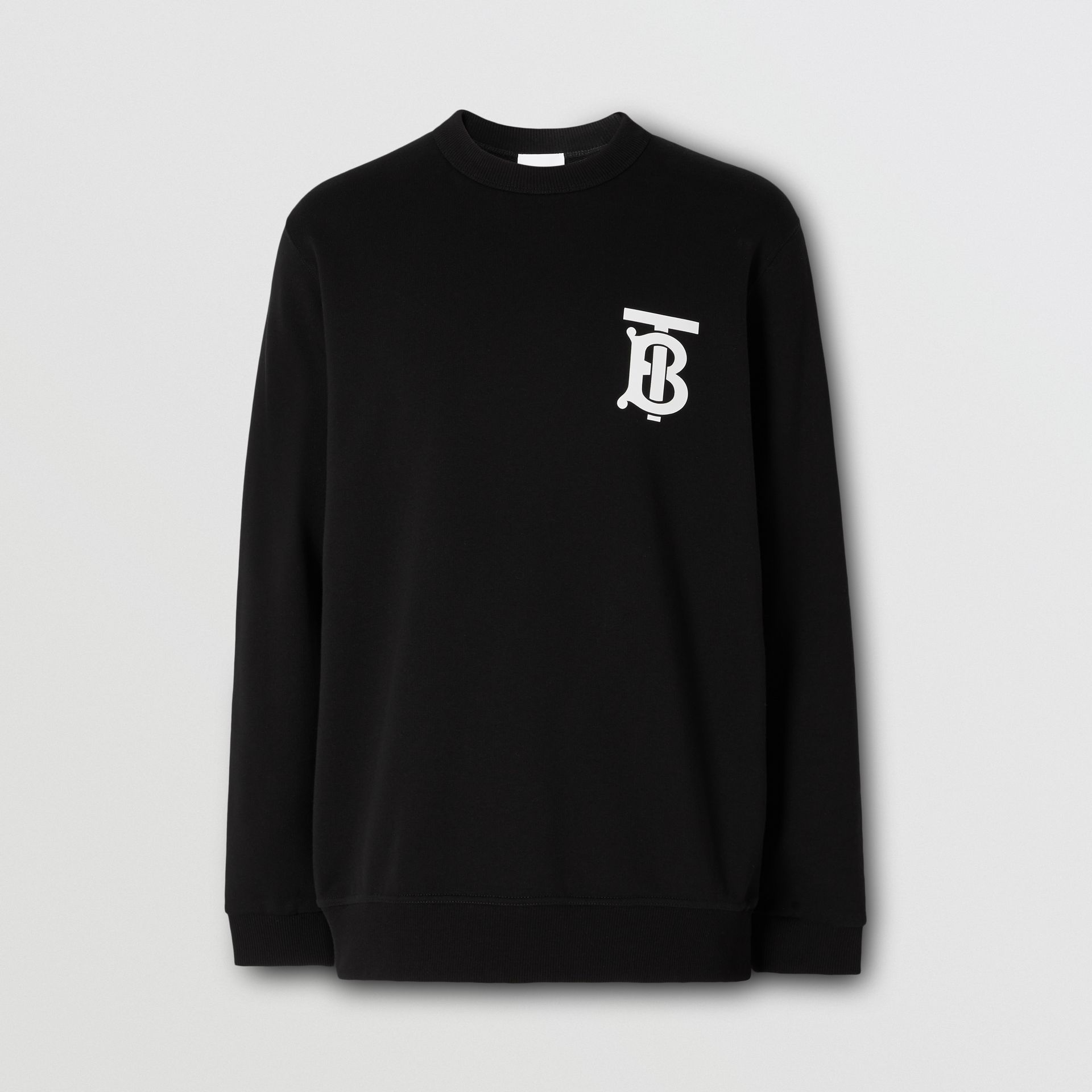 Monogram Motif Cotton Sweatshirt in Black - Men | Burberry - gallery image 3