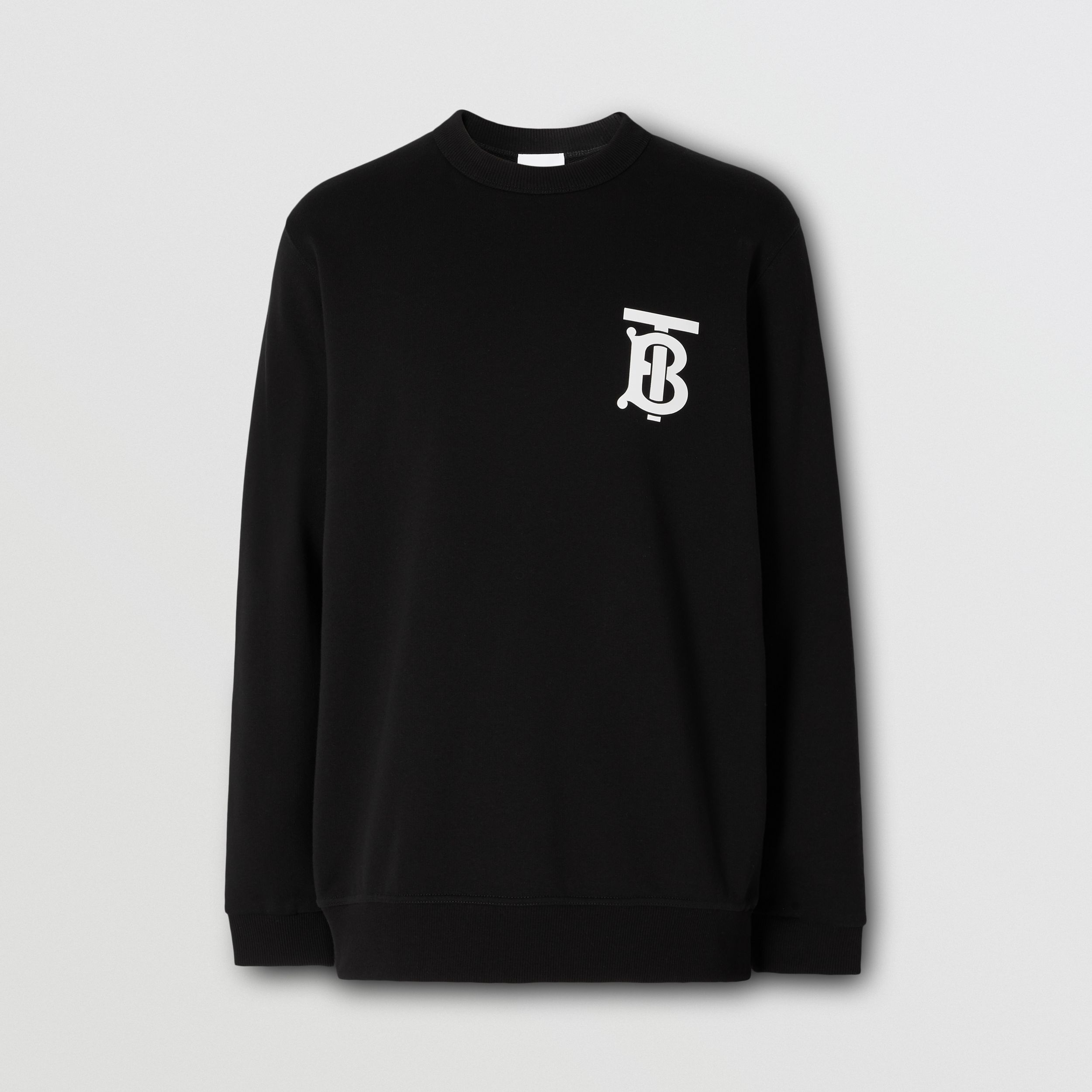 Monogram Motif Cotton Sweatshirt in Black - Men | Burberry Hong Kong S.A.R. - 4