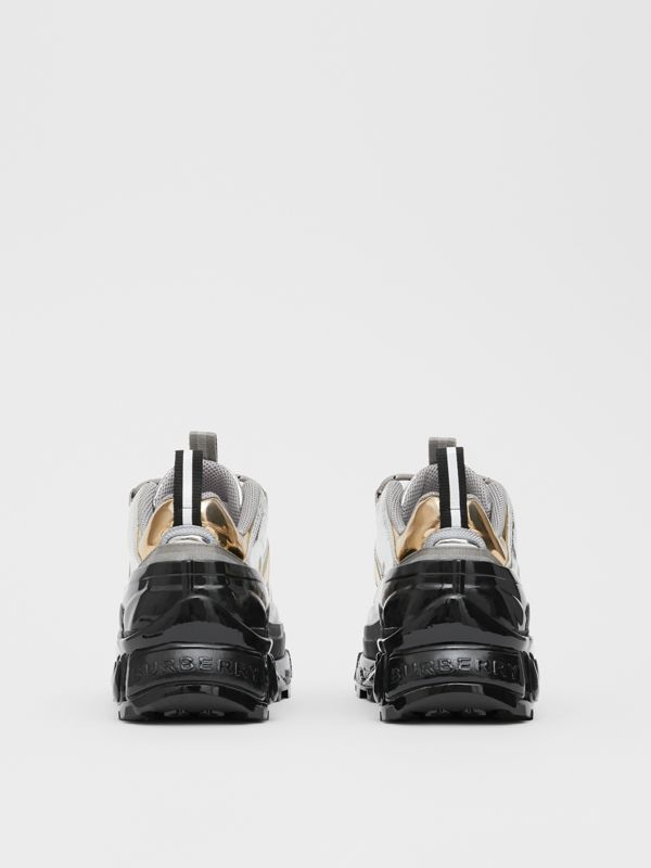 Two-tone Metallic Leather Arthur Sneakers in Silver/gold - Women | Burberry United Kingdom - cell image 3
