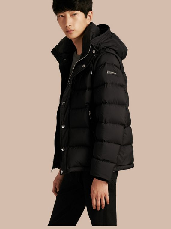 Down-filled Hooded Jacket with Detachable Sleeves Black