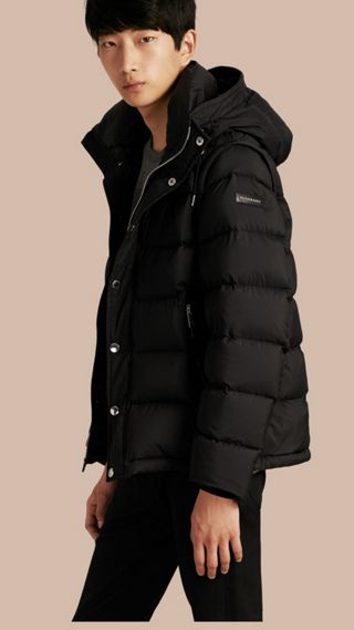 Down-filled Hooded Jacket with Detachable Sleeves