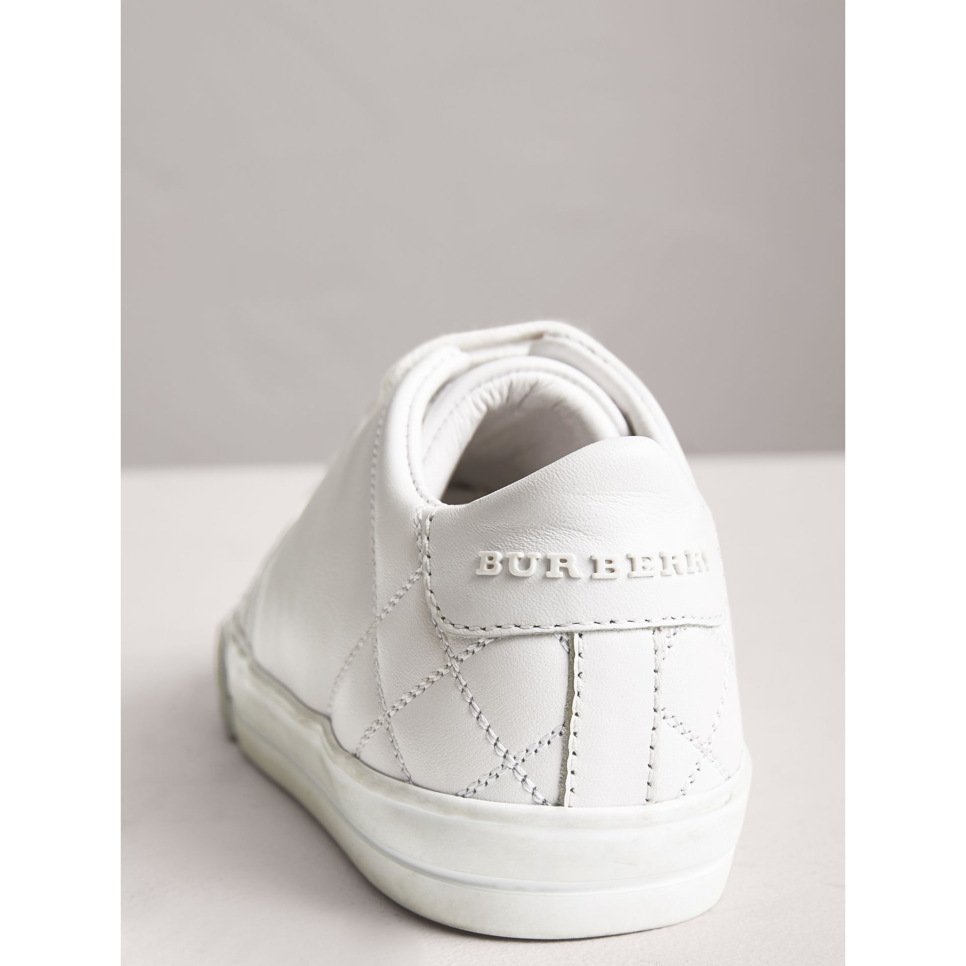 Check Detail Leather Sneakers in Optic White | Burberry Canada - gallery image 1