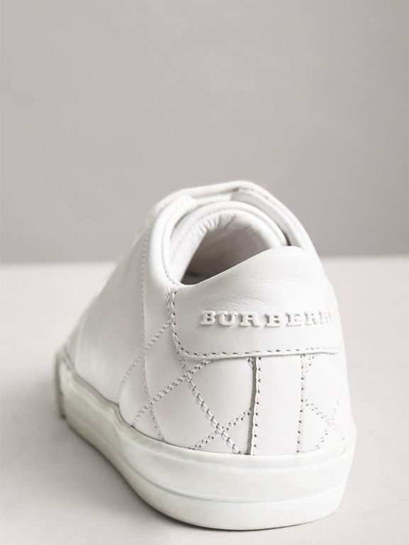 Check Detail Leather Sneakers in Optic White | Burberry - cell image 1