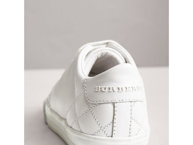 Check Detail Leather Sneakers in Optic White | Burberry Australia - cell image 1
