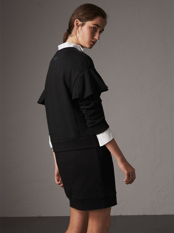 Ruffle-sleeve Cotton Sweater Dress in Black - Women | Burberry Canada - cell image 2
