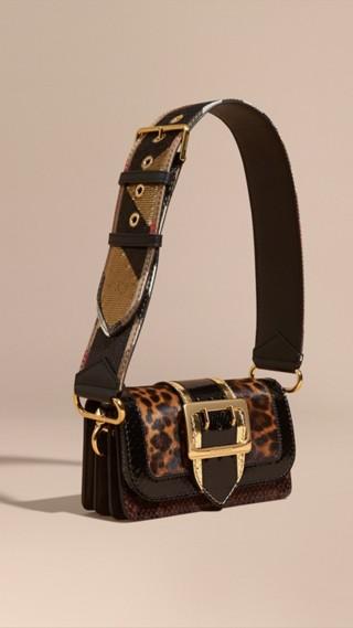 Borsa The Patchwork in cavallino con stampa leopardata e pelle di serpente