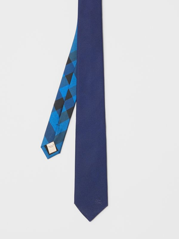 Slim Cut Check Silk Twill Tie in Navy - Men | Burberry United States - cell image 3